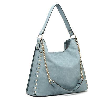 Blue Women PU Leather Handbag Ladies Studded Large Hobo Shoulder Bag