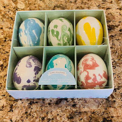Bunny Boulevard Tie Dye Decoupage Decorative Easter Eggs Set of 6