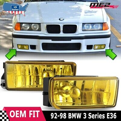 For BMW 3 Series E36 M3 92-98 Factory Replacement Fit Fog Lights Yellow Lens