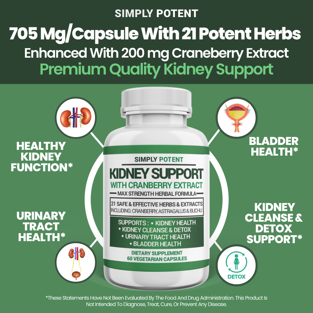 Kidney Support Restore Cleanse Detox Flush 705mg Capsule w Cranberry for UTI     4
