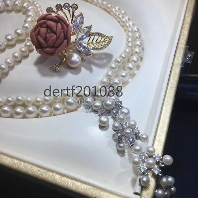 2 rows fashion style 8-9MM & 5-6MM white south sea pearl necklace