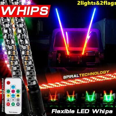 2pc 3ft Spiral LED Whip Light for UTV ATV RZR Can-Am Polaris Antenna Accessories