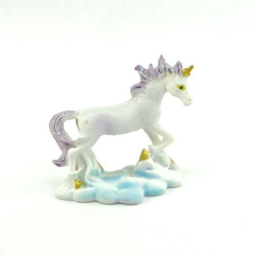 "Mini Unicorn Figurine Purple Mane & Tail Mythical Fantasy Statue 2"" Tall 3"