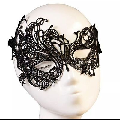 BIN Ladies Black Lace Masquerade Eye Mask Gothic Fancy Dress Party Hen Halloween (Gothic Masquerade Dresses)