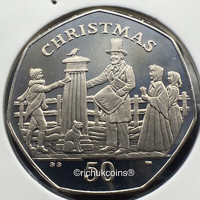2001 IOM Xmas Diamond Finish 50p Coin with BB die letters