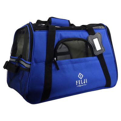 Felji Pet Carrier Cat Dog Airline Approved Fleece Bag Large Blue