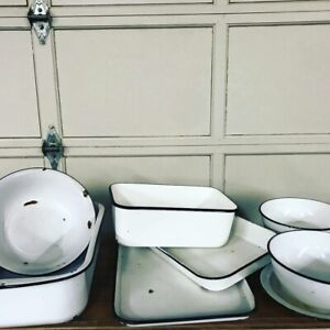 Beautiful Collection of Vintage Enamelware