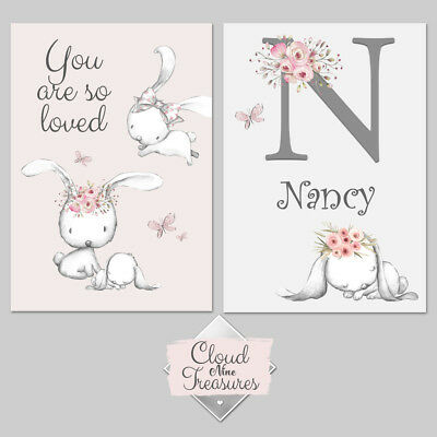 Girls Bunny DOUBLE PRINT ONLY a4 pink wall art nursery bedroom personalised
