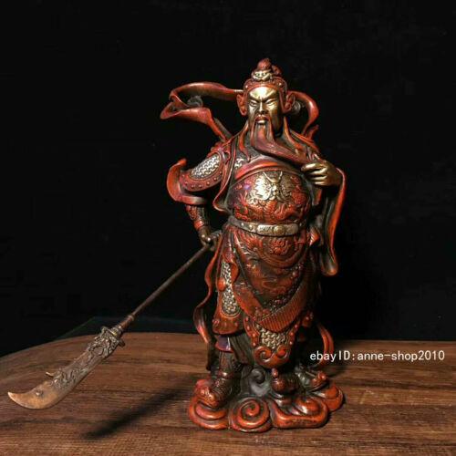 24.5cm Marked China Old Brass Bronze copper Handmade Guan Yu Statue AHHH