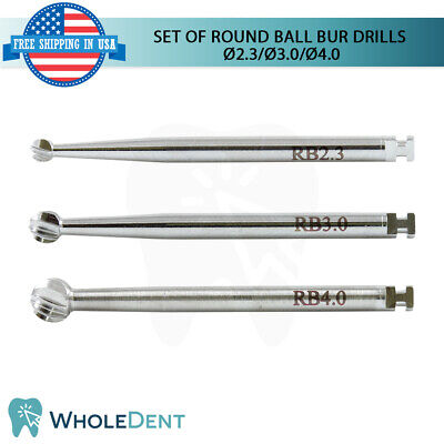 Set Of 3 Surgical Round Ball Bur Drills External Irrigation Dental Implant Tool