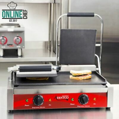 Double Smooth Top Bottom Commercial Panini Sandwich Grill Press Resto