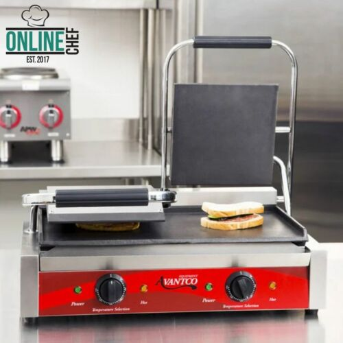 Double Smooth Top & Bottom Commercial Panini Sandwich Grill Press Resto