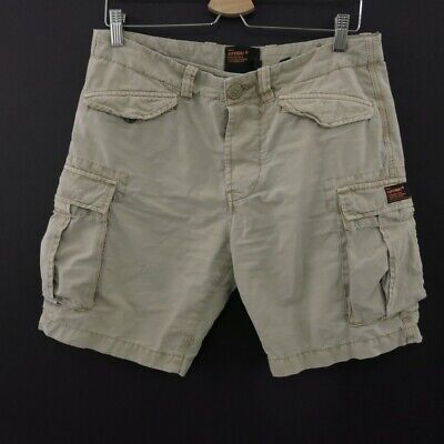 Superdry Cargo Shorts Mens Size 30 cotton beige button fly