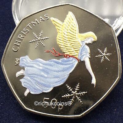 2012 IOM Xmas Colour-printed Diamond Finish 50p Coin