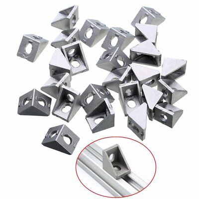 25pcs Durable Silver Aluminum Bracket 2020 Corner Bracket 20x20x17mm Solid Cast