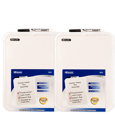 2-pack Bazic 8.5 X 11 Small Dry Erase White Board With Marker Note Study