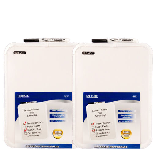 """2-Pack, BAZIC 8.5 X 11"""" Small Dry Erase White Board With Marker Note Study"""