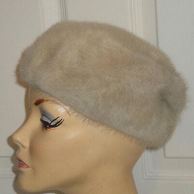 Vintage 60s Light Colored Mink Fur Pillbox Hat