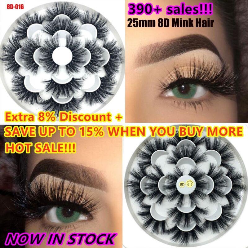 SKONHED 7 Pairs 25mm Lashes 8D Mink Hair False Eyelashes Flu