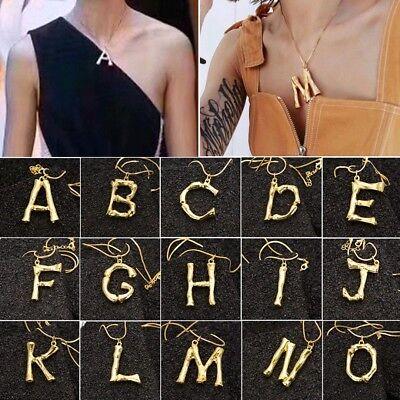 Gold Alphabet 26 A-Z Buchstaben Initialen Brief Anhänger Halskette Modeschmuck (Brief Halskette)