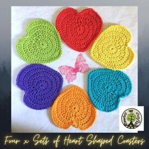 Set of Six 'Hearts of Hope and Joy' Hand Crocheted Coasters
