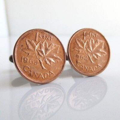 One Cent Coin Cufflinks - CANADA Penny Cuff Links - Repurposed Canadian One Cent Maple Leaf Coins