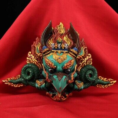 Outline Of Mask (Tibet Handcolor painting outline in gold lacquerware Eagle Custodian of God)