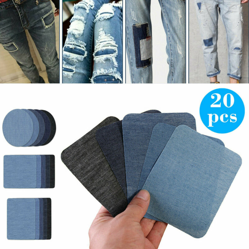 US 20Pcs 5 Color DIY Iron on Denim Fabric Patches Kit For Cl