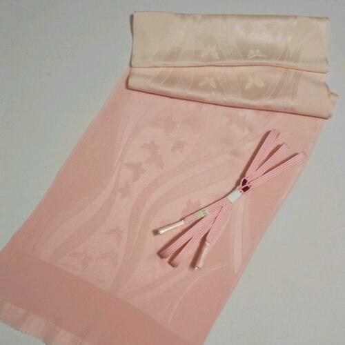 OBIJIME & OBIAGE Set Silk Light Pink Butterfly Japanese Kimono Houmongi Tsumugi