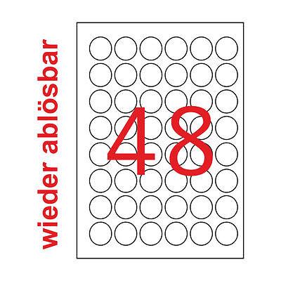 30mm Rund Premium Etiketten Wieder Ablösbar 2400 Weiße Aufkleber 50 Blatt A4