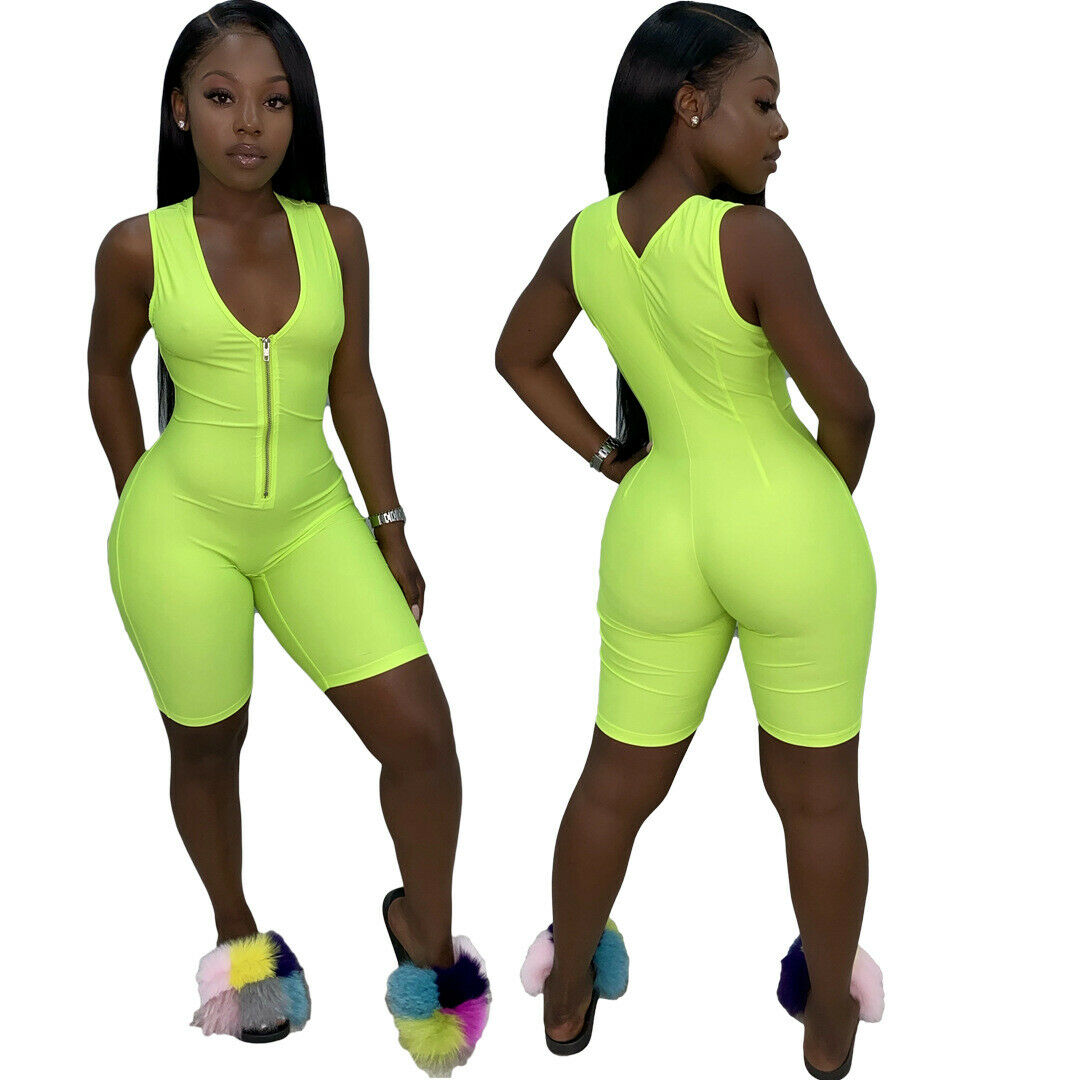 New Women/'s Stylish Sleeveless Solid Color Zipper Bodycon Sporty Jumpsuit Casual