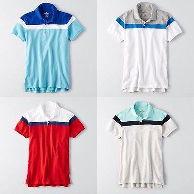 American Eagle Mens Striped Flex Pique Polo Shirt - Size S/M/L/XL/XXL - NWT