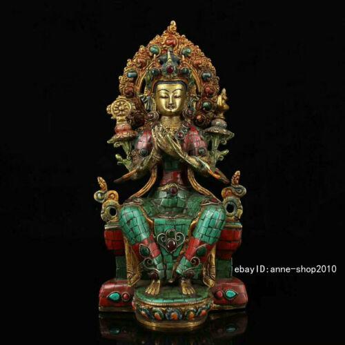 28.5cm Old Tibet Brass Bronze inlay Turquoise Kwan-Yin Buddha Statue AZYC