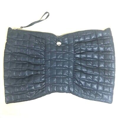 NEW Kate Spade New York Quilted Heart Logo Large Bow Pouch Purse Bag Dark Navy