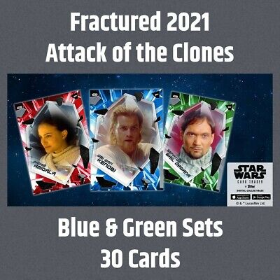 Topps Star Wars Card Trader Fractured Attack of the Clones Blue & Green 30 Cards