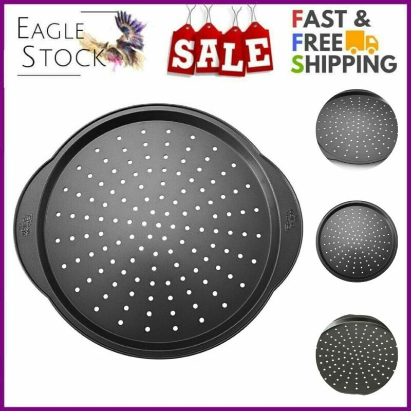 Eag Nonstick Pizza Pan Holes Crisper Round Baking Tray Steel