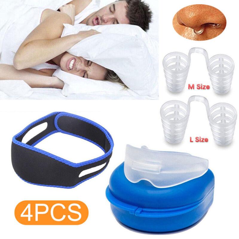 Sleep Apnea Night Mouth Guard + Stop Snoring Nose Clip+Anti