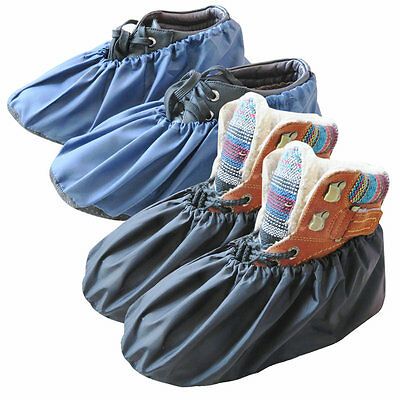- 2 Pairs Waterproof Shoe Covers Washable Reusable  Non Slip Overshoes Booties
