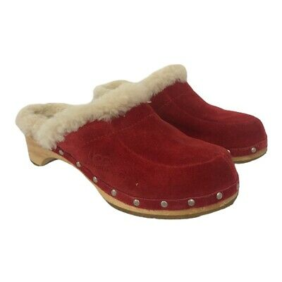 UGG Australia Womens Size 8 Sheepskin Fur Lined Red Suede Clogs Style 5426