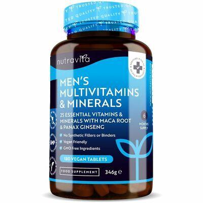 Men's Multivitamins & Minerals - 180 Vegan Tablets - 25 Vitamins & Minerals