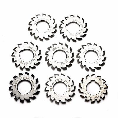 8pcs Hss M1 Diameter 22mm Pa20 20 Degree 1-8 Involute Gear Cutters Set