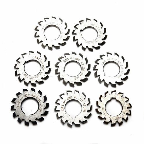 8pcs HSS M1 Diameter 22mm PA20° 20 Degree #1-8 Involute Gear Cutters Set