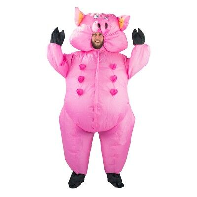 Adult Pig Pink Animal Funny Farm Yard Halloween Fancy Dress Costume Male Female