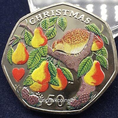 2005 IOM Xmas Colour-printed Diamond Finish 50p Coin