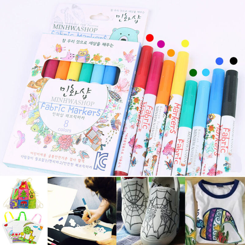 US DIY 8 X Fabric Markers Permanent Pen Paint Clothing Texti