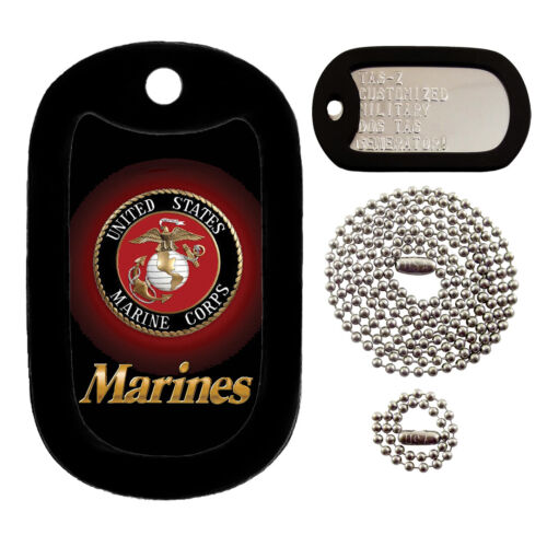 MARINES LOGO - USMC - CUSTOMIZED - FULL SET - TAG-Z MILITARY DOG TAGS