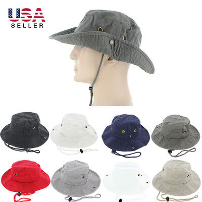 Mens Boonie Bucket Hat Cap 100% Cotton Fishing Military Hunting Safari Hiking  (Hat Fish)