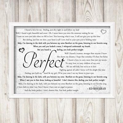 Ed Sheeran Perfect Divide Grey A4 Framed Print Song Lyrics Gift Valentines