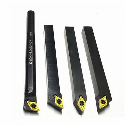 4pcs 10mm Lathe Turning Tool Holder Boring Bar 10pcs Dcmt0702 Carbide Insert
