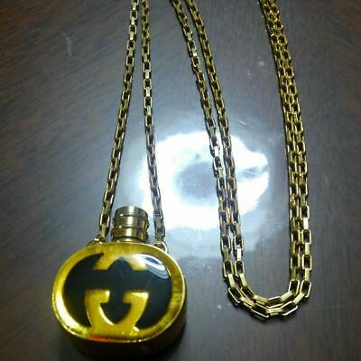 GUCCI GG Interlocking Logo Perfume Bottle Motif Pendant Necklace Vintage Jewelry